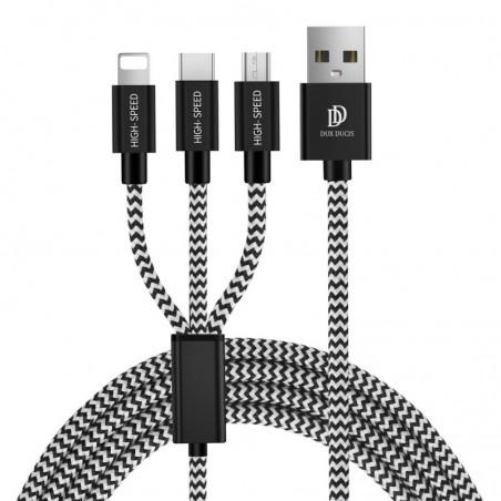 Dux Ducis - (1.20m) 3in1 USB Ladekabel Nylon Geflecht - Apple Lightning / Micro USB / USB C