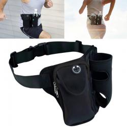 Multi-functional Unisex Running Outdoor Sports Water Bottle Waist Bag(Black)