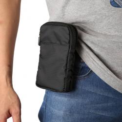 Multi-function Casual Sport Mobile Phone Double Zipper Waist Pack Diagonal Bag for 6.9 Inch or Below Smartphones (Black)