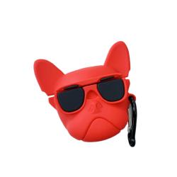Bulldogkopf Airpods Hülle, Rot