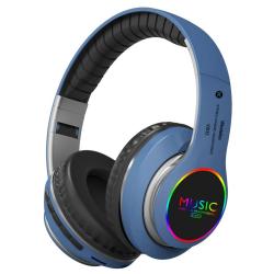 VJ033 Multi-function Upgrade Bluetooth 5.0 Headset Stereo Wireless LED Microphone FM Radio Headset(Blue)