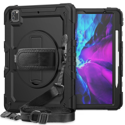 For iPad Pro 12.9 (2020) Shockproof Colorful Silicone Case with Holder & Shoulder Strap & Hand Strap & Pen Slot(Black)