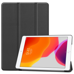 For iPad 10.2 Custer Texture Horizontal Flip Smart PU Leather Case with Sleep / Wake-up Function & Three-folding Holder (Black)