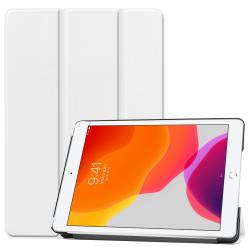 For iPad 10.2 Custer Texture Horizontal Flip Smart PU Leather Case with Sleep / Wake-up Function & Three-folding Holder (White)