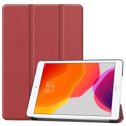 For iPad 10.2 Wake-up Function & Three-folding Holder (Wine Red)