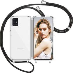Handykette kompatibel mit Samsung Galaxy A70 Handyhülle mit Umhängeband, Handykordel mit Schutzhülle Schwarz