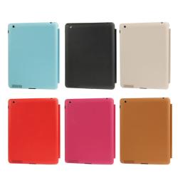4-folding Slim Smart Cover Leather Case with Holder & Sleep / Wake-up Function for iPad 4 / New iPad (iPad 3) / iPad 2(Red)