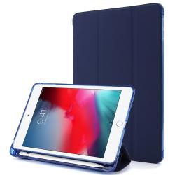 For iPad Mini 4 Airbag Horizontal Flip Leather Case with Three-fold Holder (Dark Blue