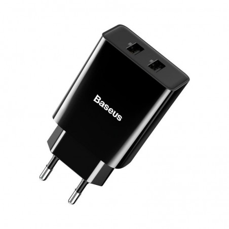 BASEUS Geschwindigkeit Mini Dual USB Ladegerät 10.5W [EU-Stecker] - Schwarz