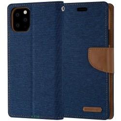 İPhone 11 PRO MAX - Mercury Goospery Canvas Diary Geldbörse Tasche / Etui - Blau